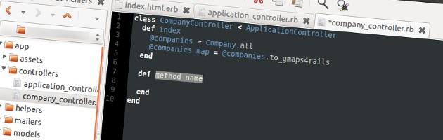 Gedit pour Ruby on Rails